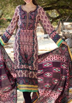 Buy Brown Printed Cotton Lawn Dress by Firdous Love Spring Collection 2015.