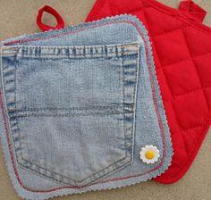 Happier Than A Pig In Mud: Jean Pocket Potholders-Embellishing Dollar Store Potholders