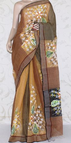 Bengal Handloom Cotton Saree (Hand printed) 12956 Saree Painting, Fabric Painting, Hand Painted Sarees, Cotton Sarees Online, Indian Look, Hand Prints, Saree Styles, Bengal, Indian Outfits