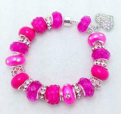 Rhinestone Heart Pink European Style Charm Bracelet by Graceandliz, $15.00