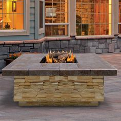 Features:  -Includes 4 piece log set and lava rocks.  -BTU: 55,000.  -Reliable piezo ignition.  -Fully-open square fire box, letting have large area for both heat and warmth.  -Gas-powered outdoor fir