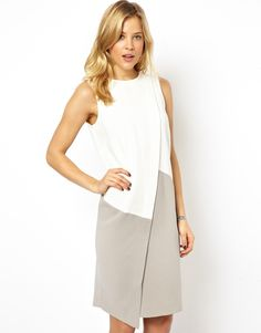 ASOS | ASOS Shift Dress With Asymmetric Color Block at ASOS
