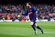 Lionel Messi of FC Barcelona celebrates after scoring the opening goal during the La Liga match between Barcelona and Atletico Madrid at Camp Nou on March 4, 2018 in Barcelona.