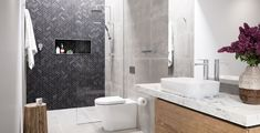 Contemporary essentials that are well made, reliable and designed to modernise your bathroom. With Caroma you can achieve a modern ensuite look without breaking the bank! Bathroom Inspo, Bathroom Styling, Bathroom Ideas, Classic Baths, Bad Styling, Beautiful Bathrooms, Modern Bathrooms, Modern Luxury, Powder Room