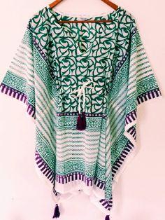 6c43ba755e1ef Anokhi Styled Cotton Kaftan Kimono, Tasseled Top • Chantek by Farisha •  Tictail