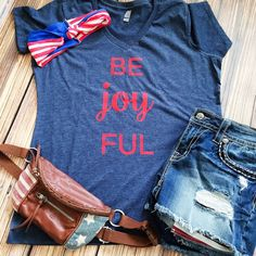 Be Joy FUL - Patriotic Women's Tee | Gentry California | $22 | Click link to shop: http://www.gentrycalifornia.com/collections/redwhiteandblue/products/4thofjulyruffleshirt