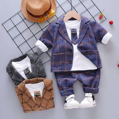 Baby boys clothing suits spring autumn newborn fashion coat+tops+pants gentleman wedding sets for bebe boys toddler outfits Baby Outfits, Toddler Boy Outfits, Sport Outfits, Kids Outfits, Baby Boys, Baby Boy Shirts, Toddler Boys, Junior Girls Clothing, Newborn Fashion