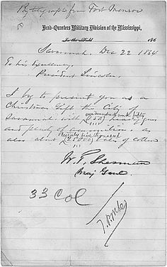 Telegram from Gen. William Tecumseh Sherman to President Abraham Lincoln to inform him that the city of Savannah, GA had surrendered and it was Gen. Sherman's Christmas Gift to President Lincoln, sent during the Civil War.(Dec. 22, 1864)