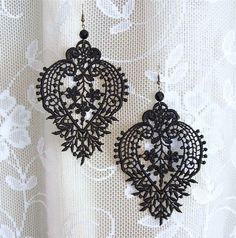 Camellia black lace earrings by StitchFromTheHeart on Etsy, $20.00
