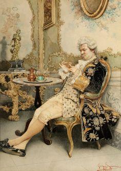 Der Blick auf die Taschenuhr by Guiseppe Signorini (Italian 1857-1932)