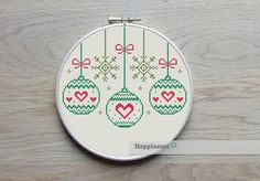 christmas cross stitch pattern christmas baubles  by Happinesst