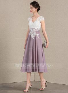 f5470ec83ae A-Line Princess V-neck Tea-Length Chiffon Lace Mother of the Bride Dress  (008143390)