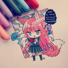 #traditional #chibi #moe #kawaii #cute #kemonomimi #kitsune #seifuku #bicmarker #penbic #instadraw #instaart #instaanime