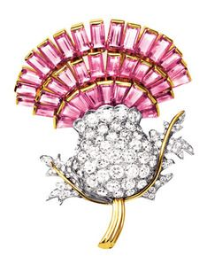 The Duchess of Windsor (Wallis Simpson) Jewelry - Pink and White Diamond Thistle Brooch, designed by Cartier, Wallis Simpson, Cartier Jewelry, Antique Jewelry, Jewelery, Vintage Jewelry, Royal Jewelry, Fine Jewelry, Windsor Fashion, Spring Blooming Flowers