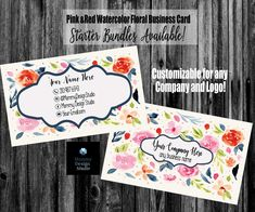 Pink and Red Watercolor Floral Business Card - HO Approved Compliant Fonts/Colors Available - Bundles - MLM Direct Sales Any Company Printing Services, Online Printing, Lipsense Business Cards, Jamberry Business, Cricket Tv, Live Cricket, Photography Business Cards, Elegant Business Cards, Name Logo
