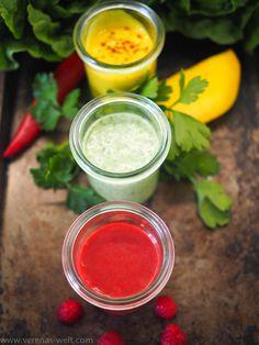 Drei frische schnelle Salatdressings