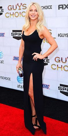 Julianne Hough in a leg-baring tank dress & a House of Harlow clutch