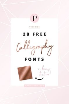Free fonts for personal use ★ brush script, handwritten, feminine, modern calligraphy style fonts for logos, branding, design, wedding, invitations and stationery. Includes bonus FREE rose gold texture. Download your free fonts over at blogpixie.com