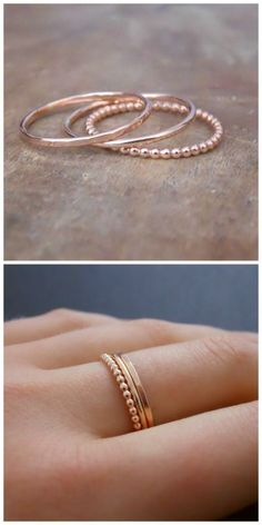 A set of 3 rose gold rings
