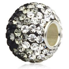 925 Sterling Silver Rhinestones beads for women fit pandora bracelets & Necklaces charms Gradient color crystal Jewelry