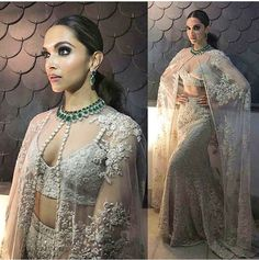 Sabyasachi # modern bride .# reception look # white love # cape love # Deepika Padukone