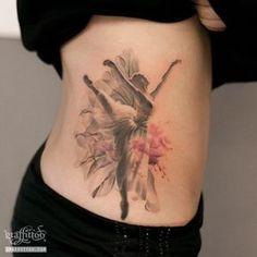 Graceful Dancer Tattoos - Beautiful effects by Graffittoo. Creative Tattoos, Great Tattoos, All Tattoos, Tatoos, Ballerina Tattoo, Dancer Tattoo, Shoe Tattoos, Matching Tattoos, Back Tattoo