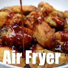 Air Fryer Breaded Honey BBQ Fried Chicken Wings is a quick and easy recipe for crispy and crunchy wings. You can even make chicken thighs if you prefer. This recipe includes the cook time and instructions on how long to cook frozen wings. #AirFryerRecipes #AirFryerChickenWings #AirFryerHoneyBBQWings