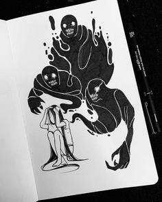 Creepy Drawings, Dark Art Drawings, Creepy Art, Pencil Art Drawings, Art Drawings Sketches, Cool Drawings, Scary Halloween Drawings, Arte Horror, Horror Art