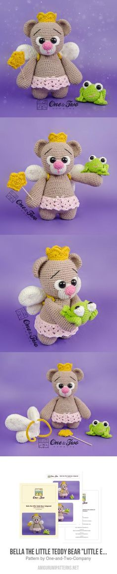 "Bella The Little Teddy Bear ""Little Explorer Series"" Amigurumi Pattern, 4.2"" tall"