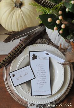 """Maple Leaf Thanksgiving Download Pack from Dear Lillie. Includes: menu cards, menu cards with verse, food labels, placecards & maple leaves template (to trace & cut out) -- can use for a """"Give Thanks"""" tree."""