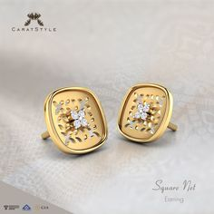 Just like you, these Square net compliments the beauty of Life. Jewellery Designs, Gold Jewellery, Jewelery, Diamond Rings, Diamond Jewelry, Ring Enhancer, Jewelry Collection, Compliments, Studs