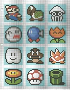 ideas for crochet pattern tapestry Perler beads - Stitching Projects Mario Crochet, Pixel Crochet, Crochet Chart, 8 Bit Crochet, C2c Crochet Blanket, Motifs Perler, Perler Patterns, Perler Bead Mario, Perler Beads