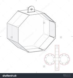 Octagonal Box With Die Line Template Stock Vector Illustration 320619569 : Shutterstock
