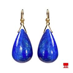 Solid Gold Egyptian Lapis Drop Earrings by oas New York™  YOU ARE WHAT YOU WEAR  Your choice of adornment is a reflection of who you are - it resonate with your inner desire towards a unique identity, as it is a gentle attempt to accomplish something possible in this impossible thing we know as life.  Product Details:  Condition: brand new Gem: natural Egyptian lapis Gem Size: 17mm x 10mm (see picture) Overall Length: hangs about 1.25 inch from your ear Metal Components: solid 18K or 14K…