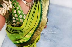 double tone olive green kanchipuram saree with dark olive green border - one of my favs ;) my collection