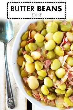 A delicious and savory quick-fix Butter Beans Recipe featuring frozen butter beans, chopped ham, and onion. Build big flavor fast with this recipe! Then, serve your Butter Beans as the main event with a hearty slice of Homemade Cornbread or as a starchy side dish to complement any Southern meal! Ham Steak Recipes, Bean Recipes, Side Dish Recipes, Side Dishes, Fruit Recipes, Main Dishes, Healthy Recipes, Moist Cornbread, Homemade Cornbread