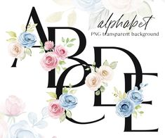 Painted Letters, Monogram Letters, Hand Painted, Wreath Watercolor, Watercolor Flowers, Flower Letters, Free Advertising, Alphabet And Numbers, Black Letter