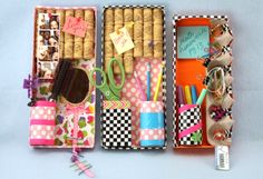 DIY locker organizer out of a shoebox lid, duct tape, and things like cork (for a bulletin board), water bottle (for a pencil cup), cardboard box, mirror, egg carton...  The possibilities are endless!  From Sophie's World.