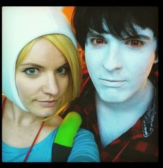 My son Sterling with his girlfriend Gretchen in Cosplay as Fiona and Marshall Lee from Adventure Time.