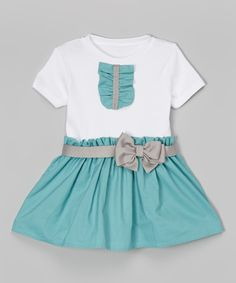 Caught Ya Lookin' Teal & Gray Ruffle Bow Dress - Infant & Toddler | zulily