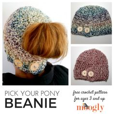 Projects Modern Pick Your Pony Beanie - free crochet pattern? This is a great project for the fall, and will keep you warm through the seasons! I love this modern twist on a crochet beanie. Crochet Adult Hat, Crochet Beanie Pattern, Knit Or Crochet, Free Crochet, Crochet Patterns, Easy Crochet, Crocheted Hats, Booties Crochet, Crochet Poncho