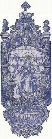 Do Tempo da Outra Senhora: Nossa Senhora no Azulejo Português - Nossa Senhora da Conceição e as Almas do Purgatório (1750). Painel de azulejos (224 x 83 cm). Museu Nacional do Azulejo, Lisboa.