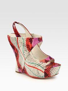 Alice + Olivia  Delilah Snake-Print Leather Slingback Platform Wedge Sandals @Saks Fifth Avenue