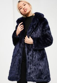 Blue Oversized Collar Faux Fur Coat, Blue