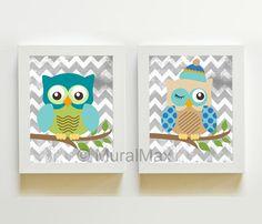 "Nursery Owl Print wall art ,Set of two 8""x 10"" Boys by MuralMAX, $35.00  LOVE the chevrons!"