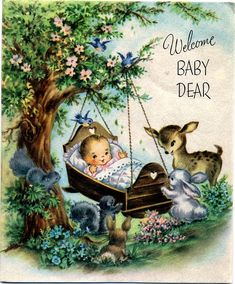 welcome baby - Sweet vintage.... other cute vintage baby cards/invites on link