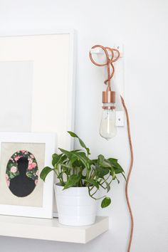 Brilliant idea. I want. With very uncool looking LED bulbs. DIY // Metallic Pendant Sconce