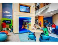 Positive Distraction Elements In The Atrium Include Graphics By Kolar Design An Xbox Kinect