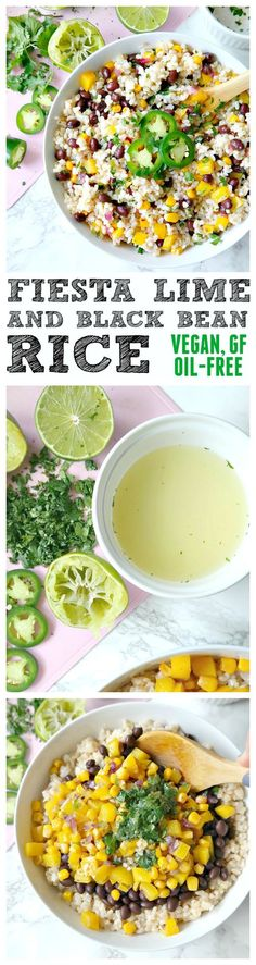 Fiesta Lime and Black Bean Rice. VEGAN, GF, OIL-FREE. Crunchy, spicy ...