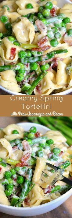 Pasta: Creamy Spring Tortellini with Peas Asparagus and Bacon. Delicious creamy tortellini dish made comforting with Parmesan cream sauce and crispy bacon and it's also loaded with peas and asparagus. Bacon Recipes, Pasta Recipes, Cooking Recipes, Healthy Recipes, Noodle Recipes, Recipes With Bacon Dinner, Vegemite Recipes, Necterine Recipes, Chard Recipes